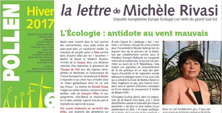 Pollen #6 – Lettre d'information de Michèle RIVASI – Hiver 2017